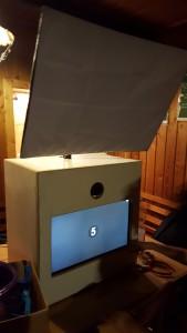 Fotobox auf der ersten Party zum testen, aber noch im Rohzustand. Der Fotoapparat - Dein Event Highlight.